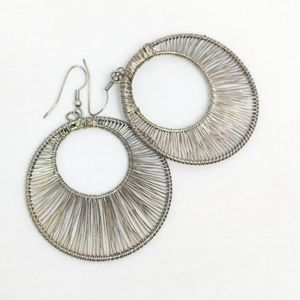 Hoop Round Cut Out Wire Earrings